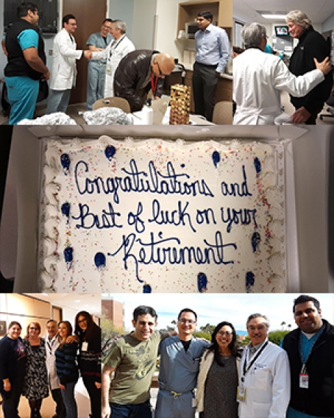 Collage of photos from Dr. Steve Goldschmid's retirement party at the UA Division of Gastroenterology and Hepatology
