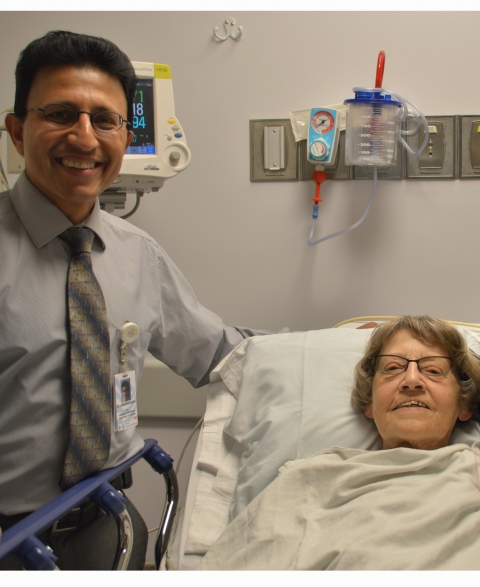 Dr. Raj Janardhanan with patient Darlyn Griffith