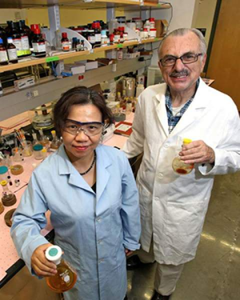 Drs. Minying Cai and Victor Hruby in their lab at the UA BIO5 Institute (Photo: Arizona Daily Star - used by permission)