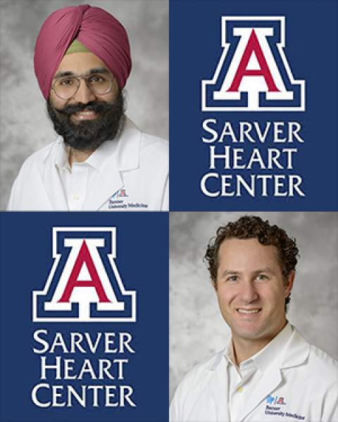 Teaser for new Sarver Heart Center cardiologists, Drs. Amitoj Singh and Aaron Wolfson
