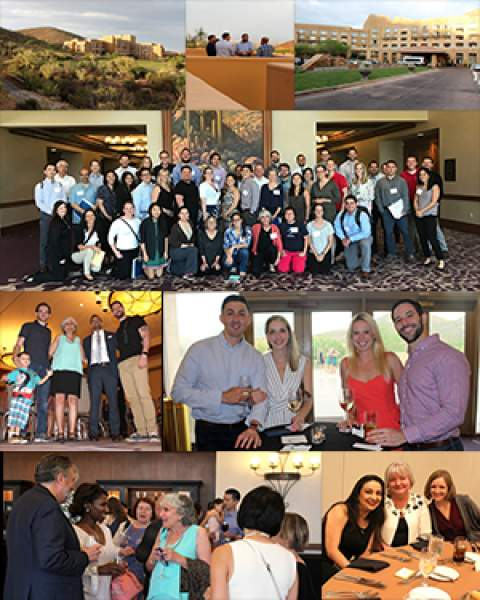 Group shot of participants and photo collage from 2018 IP-CRIT Program dinner at Star Pass Resort