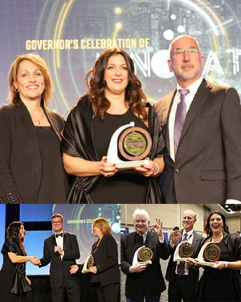 Dr. Louise Hecker receives Innovator of the Year Award at Governor's Celebration of Innovation Expo in Phoenix, Oct. 24