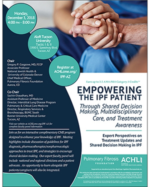 Image of flyer for Pulmonary Fibrosis Foundation lecture at Aloft Tucson University