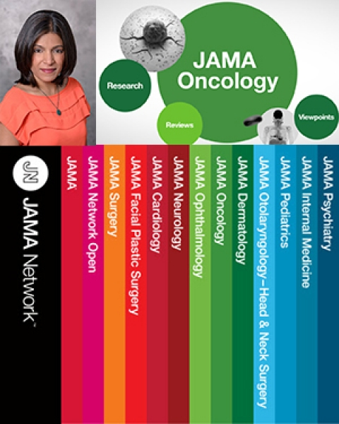 Illustration of Dr. Rachna Shroff with JAMA Oncology logo and other publications in JAMA Network