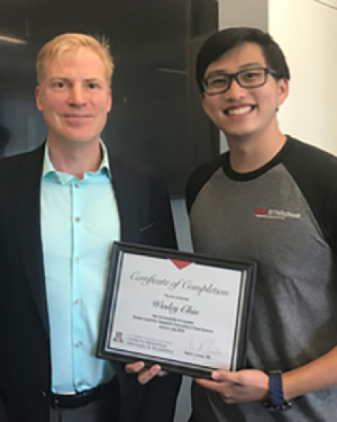 CB2 Director Dr. Yves Lussier with Wesley Chiu, a high school student from Tucson who participated in the Keys Internship program last summer.