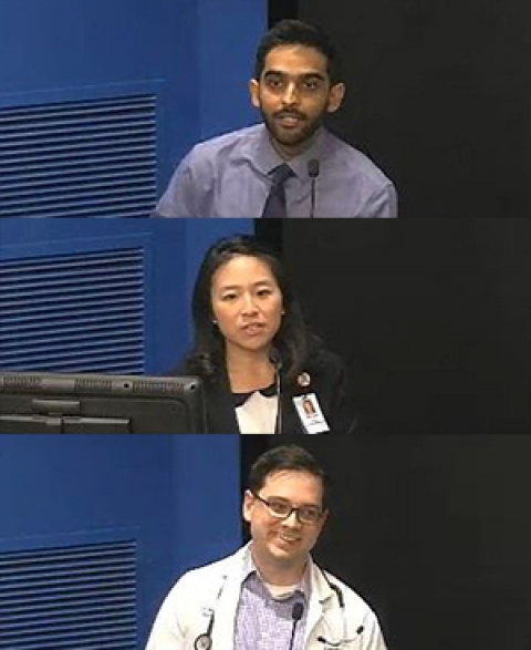 Drs. Jawad Bilal, See Wei Low and Matthew Adams at May 17 DOM Clinical Vignettes Competition