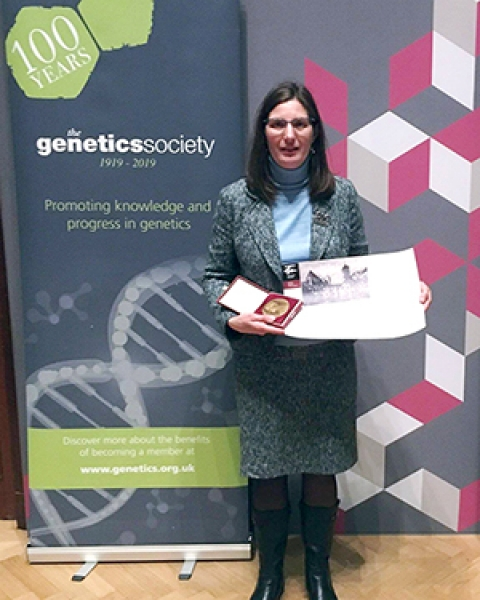 Dr. Christina Laukaitis with Mendel Medal presented to her in London on March 8, 2019.