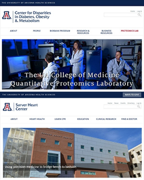 New and redesigned webpages for UA Proteomics Lab and Sarver Heart Center