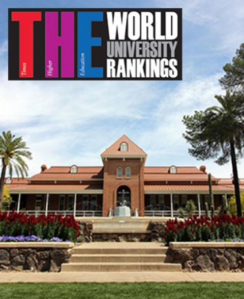 UA's Old Main Building with World University Rankings logo