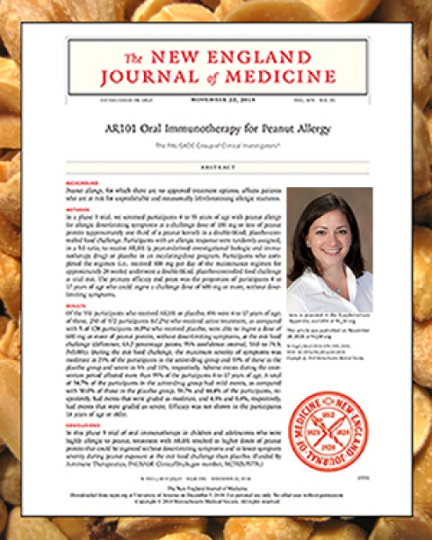 Dr. Tara Carr with New England Journal of Medicine article and peanuts