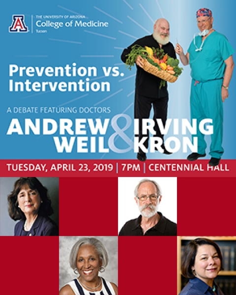Teaser image about debate between Drs. Andrew Weil and Irv Kron, with panelists, April 23, 2019