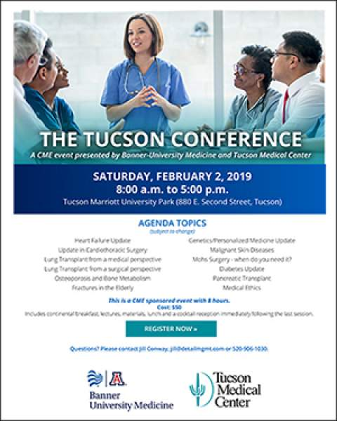 Teaser image for THE TUCSON CONFERENCE, an 8-CME event hosted by Banner – University Medicine, TMC and UA College of Medicine – Tucson