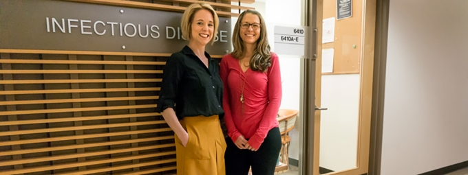 Shannon Smith (left) and Alyssa Guido, among the staff at the UA Petersen HIV Clinics
