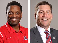 UA Football Coach Kevin Sumlin and Athletic Director Dave Heeke