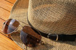Sunglasses and hat for sun protection