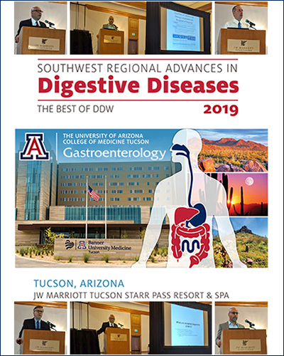 Collage illustrating inaugural Southwest Regional Advances in Digestive Diseases conference, Sept. 7, 2019