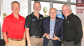 David Allen, Doug Hockstad, James Wyant, PhD, and UA President Robert C. Robbins. (Photo credit: Tech Launch Arizona)