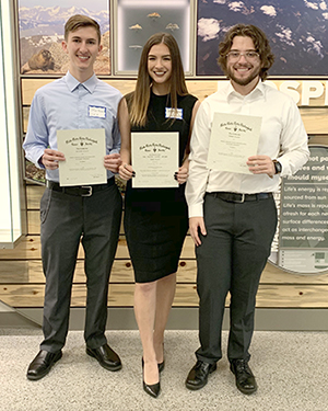 Skye Rounesville, Sydney Rummel and Joey Irish with awards at TriBeta District Convention in Ft. Collins, Colo, March 29-30, 2019