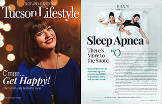 Tucson Lifestyle cover for January 2019 and first page of sleep apnea article