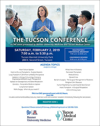 Image of flyer for THE TUCSON CONFERENCE, an 8.5 CME event for Southern Arizona area clinicians