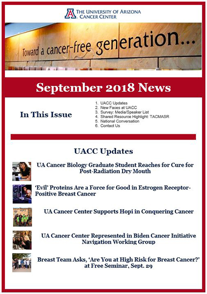 UA Cancer Center News: Post-Radiation Dry Mouth, 'Evil