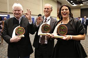 Fletcher McCusker, Doug Stetson and Louise Hecker celebrate. Photo credit: Paul Tumarkin/Tech Launch Arizona