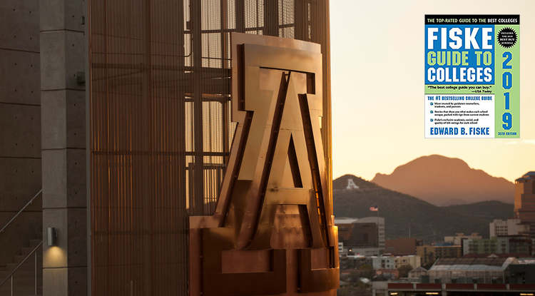 Sunset photo of block A on UA football stadium inset with cover for Fiske Guide to Colleges 2019 edition