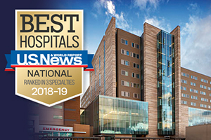 Promo image for 2018-19 list with new hospital tower, then under construction and now open