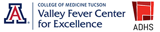 Logos for UA Valley Fever Center for Excellence and Arizona Department of Health Services