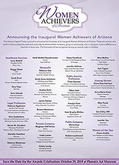List of 2019 Women Achievers in Arizona Award winners